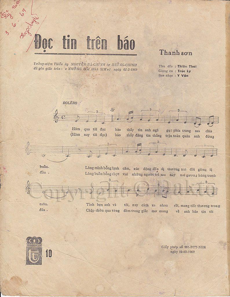 [Hình ảnh] Sheet Đọc Tin Trên Báo   Thanh Sơn & Những sáng tác để đời
