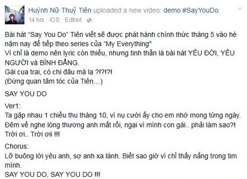 [Hình ảnh] Say You Do | Những sáng tác của Tiên Tiên