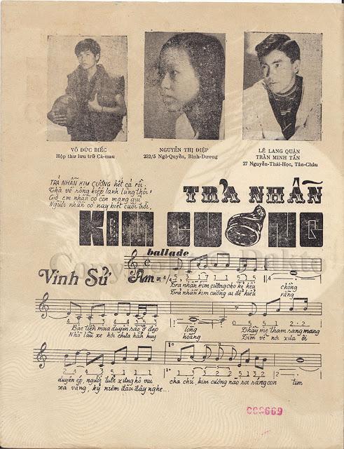 [Hình ảnh] Sheet Trả Nhẫn Kim Cương   Vinh Sử & Những sáng tác để đời